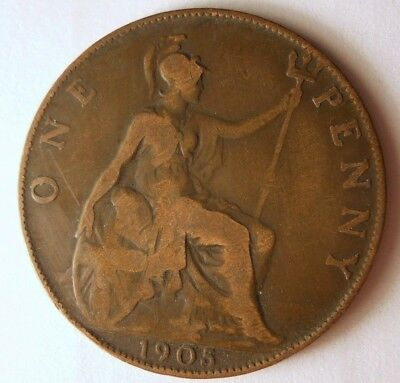 1905 GREAT BRITAIN PENNY - High Quality Coin - FREE SHIP - Britain Bin F