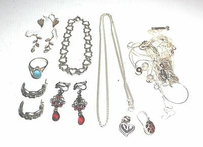 Bulk Collection of 62.5g STERLING SILVER Jewellery Necklaces Rings & Other - T15