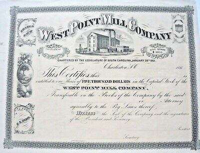 Charleston, S.C. January, 1861, West Point Mill Co.  Unused Stock Certificate,