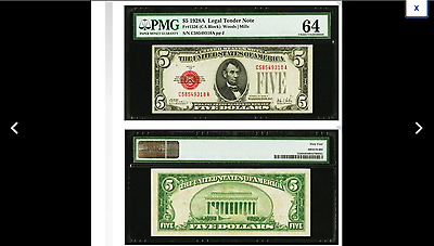 $189. = MILLS Fr. 1526 $5 1928A Legal Tender Note. PMG Choice Uncirculated 64
