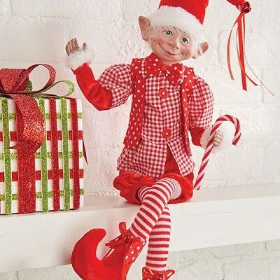 "RAZ Imports 30"" Posable Elf Red White Candy Cane Stripes Christmas NEW"