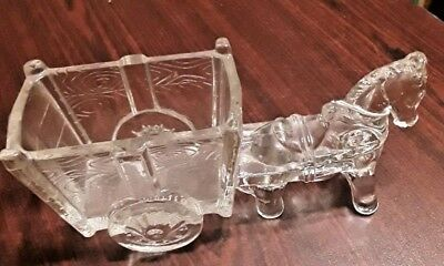 "Nice Vintage All Glass Large Horse Pulling a Cart Candy Container 9 1/2"" Long"