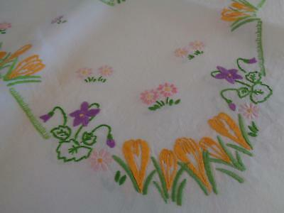 Delightful Heavy Linen Hand Embroidered Vintage Tablecloth, Rows Spring Flowers