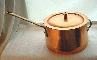 Vtg Copper and Brass Sauce Pan Cookware with Lid Stainess Steel Lined