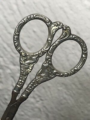 Antique Sterling Silver Embroidery Scissors Foster & Bailey Scrolls & Animals