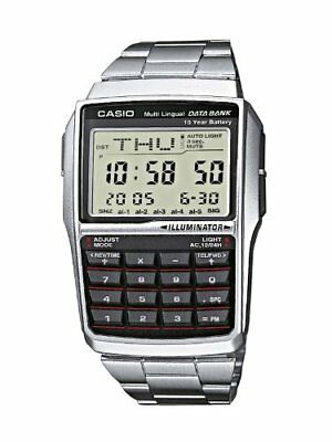 Casio Data Bank Mens Wrist Watch EAW-DBC-32D-1A DBC-32D-1AES Silver 37mm New O