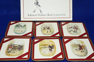 Johnnie Walker Red Coasters Set of 6 Cork Backing-HTF Made in England NIB