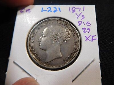 L221 Great Britain 1871 Shilling Die no. 29 XF