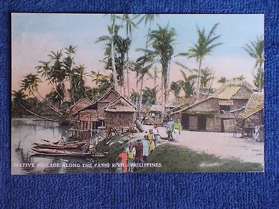 Native Village on the Pasig River Near Manila Philippines/Printed Color Photo PC