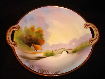 Vintage Nippon Hand Painted Porcelain Bridge Barn Scene Small Handled Bowl