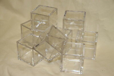 lot of 8 acrylic plastic clear golf ball sized display cubes  NEW