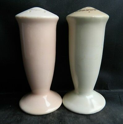 "VINTAGE Salt & Pepper Shakers PINK BLUE 4"" Pedestal footed Gold wreath & S P top"
