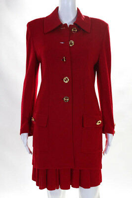 St. John Collection By Marie Gray Womens Skirt Suit Size 8 Red Gold Blazer Skirt