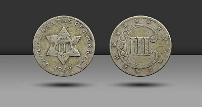 Three Cent Silver Trime 3c, 1852, VG