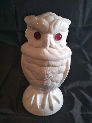 Antique Milk Glass Owl Jar w Lid Red Eyes Figural Figurine Kitchen Rare 6 1/2""