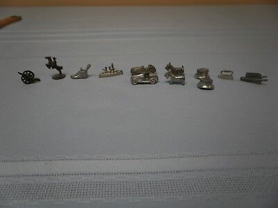 Vintage Monopoly Set of 8 metal Monopoly Playing Pieces / Tokens