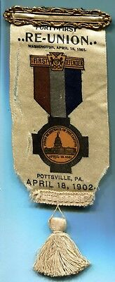 1902 POTTSVILLE PA Civil War FIRST DEFENDERS 41st Reunion Ribbon Badge