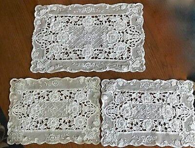 Antique Chemical Net Lace & Embroidered Placemats Doilies X 3 Off White