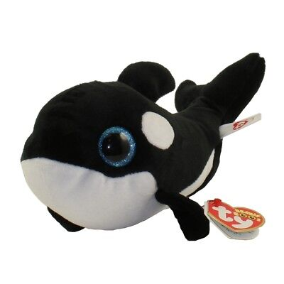 """Set of 2 Ty Beanie Boos 6/"""" NONA /& Teeny Tys ORVILLE the Orca Whale w// Heart Tags"""