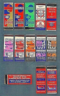 Matchbook Covers Lot of (13) 1940's Diamond Match Co. Salesman Samples #16