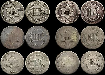 Silver Three Cent Piece 3c, 1851 and 1852, Lot of 6 (all type 1)