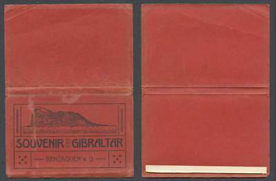 Souvenir of Gibraltar Rock Empty Folder Cover for Old Postcards, Benzaquen & Co.