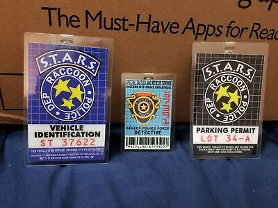 3 STARS Raccoon City Police Dep Badges ID Cards Costume Props RESIDENT EVIL NEW!