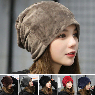 a6a8ec36cdc Womens Baggy Beanie Cap Soft Velvet Autumn Winter Unisex Warm Ski Slouch Hat  US