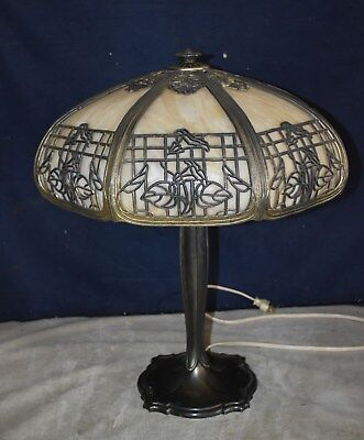 Gorgeous Best! Large Antique Slag Glass Panel Table Lamp - Ornate  Design