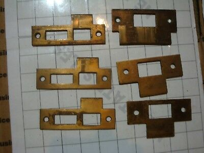 mixed LOT 6x :: heavy brass antique old DOOR STRIKE PLATES parts hardware