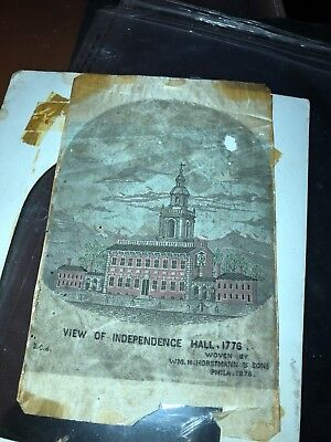 Rare 1876 Hand Woven Picture Independence Hall Philadelphia Wm Horstmann & Sons