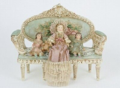 LOUIS NICHOLE Victorian Style DOLL FAMILY ON SOFA Christmas Ornament