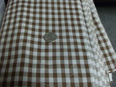 4 1/2 yds Brown & White Gingham Check Cotton Fabric