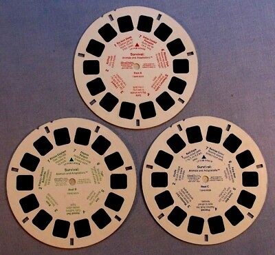 Viewmaster Reels - Survival: Animals And Adaptations- Set Of 3 In Good Condition