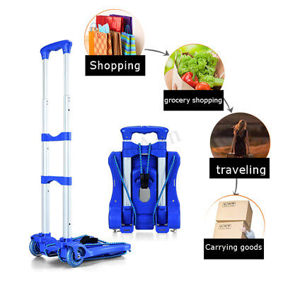 Folding Cart Dolly Push Aluminum Luggage Hand Truck Collapsible Trolley 2