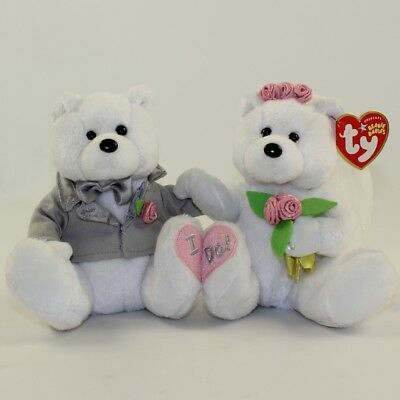TY Beanie Babies - WE DO the Wedding Bears (set of 2) (8.5 inch) *Non Mint*