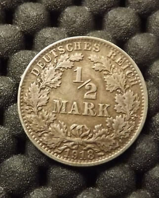 "Authentic Silver Coin Germany 1/2 Mark 1918 World War I ""a"" Berlin German Empire"