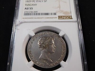 L400 Italy Tuscany 1829 Pisa Mint 5 Paolo NGC AU-55 Very RARE This Nice