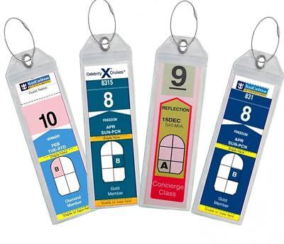 Cruise Luggage Tag Holder Zip Seal Steel Royal Caribbean Celebrity Clear 8 Pack
