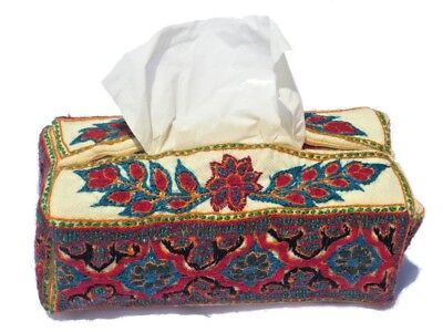 Tissue box cover hand made embroidery- 100% wool