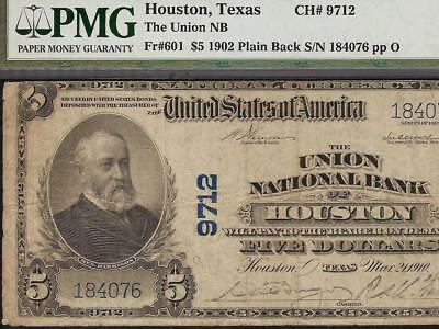 Large 1902 $5 Union National Bank Houston Texas Note Currency Paper Money Pmg Vf