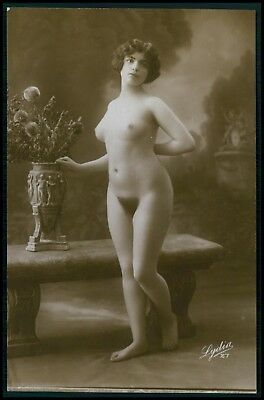 French full nude woman seated near flower vase original 1910-1920 photo postcard
