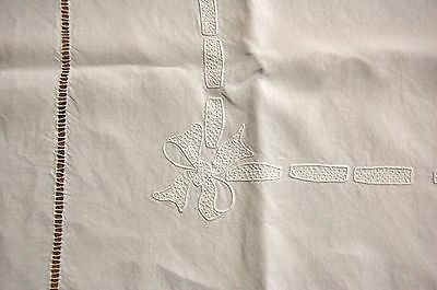 Antique French Pure LINEN Sheet OT Monogram 80 x 102 Embroidery Summer Weight