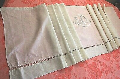 Valance from Antique French Embroidered Pure Linen Curtain Pelmet White 18 x 88