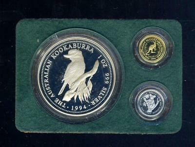 1994 Perth Mint Tri-Metal Proof Set 1/20 oz Gold, 1 oz Silver, 1/20 oz Platinum