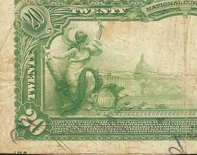 Large 1902 $20 Dollar Offset Print Error Virginia National Bank Note Currency