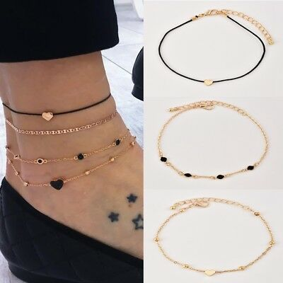 4pcs/Set Women's Jewelry Gold Plated Heart Beads Ankle Chain Foot Anklet