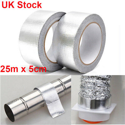 Self Adhesive Reflective Silver High Temperature Heat Shield Wrap Tape 1Roll UK