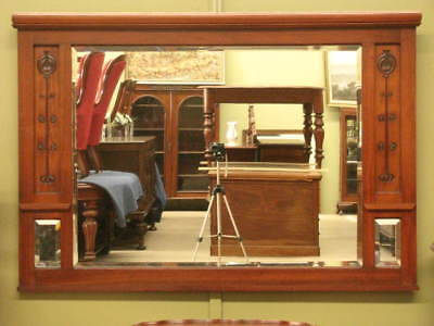 LARGE ANTIQUE OVER MANTLE / WALL BEVELLED MIRROR  ~ BEAUTIFUL WALNUT FRAME c1890
