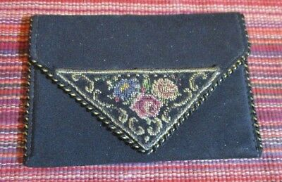 Antique Small Black Faille Coin Purse Petit Pointe Hand Emboidered Roses Closure